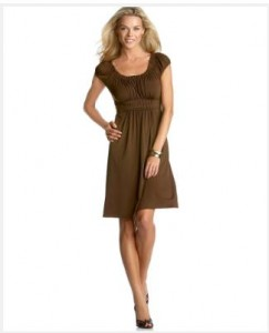 brown dress with cap sleeves